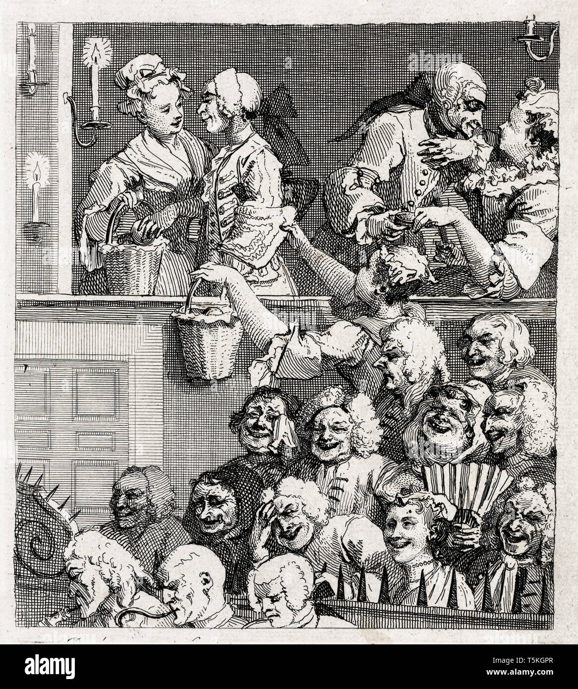 William Hogarth, The Laughing Audience, engraving, 1733 Stock Photo