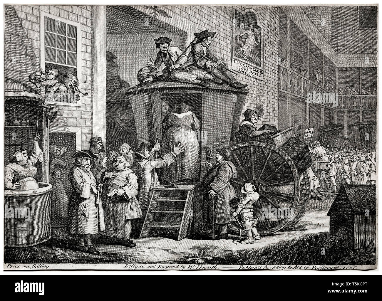 William Hogarth, The Stage Coach, engraving, 1747 Stock Photo