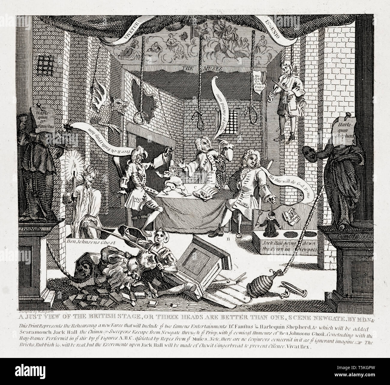 A Just View of the British Stage by William Hogarth, engraving, 1724 Stock Photo