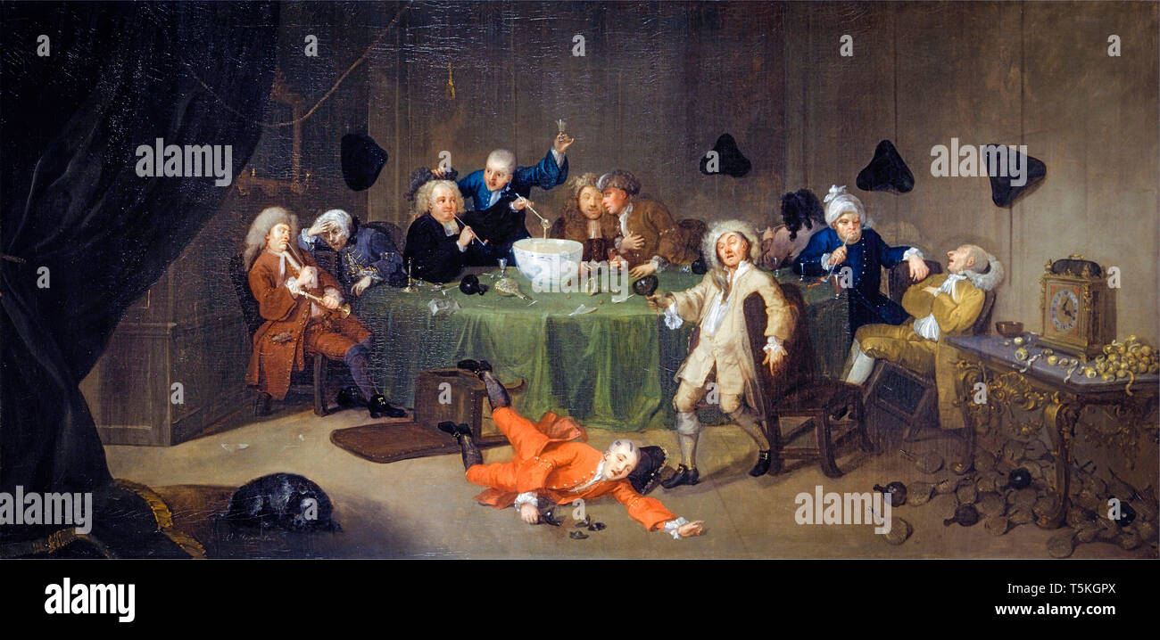 William Hogarth, A Midnight Modern Conversation, painting, c. 1732 - Stock Image