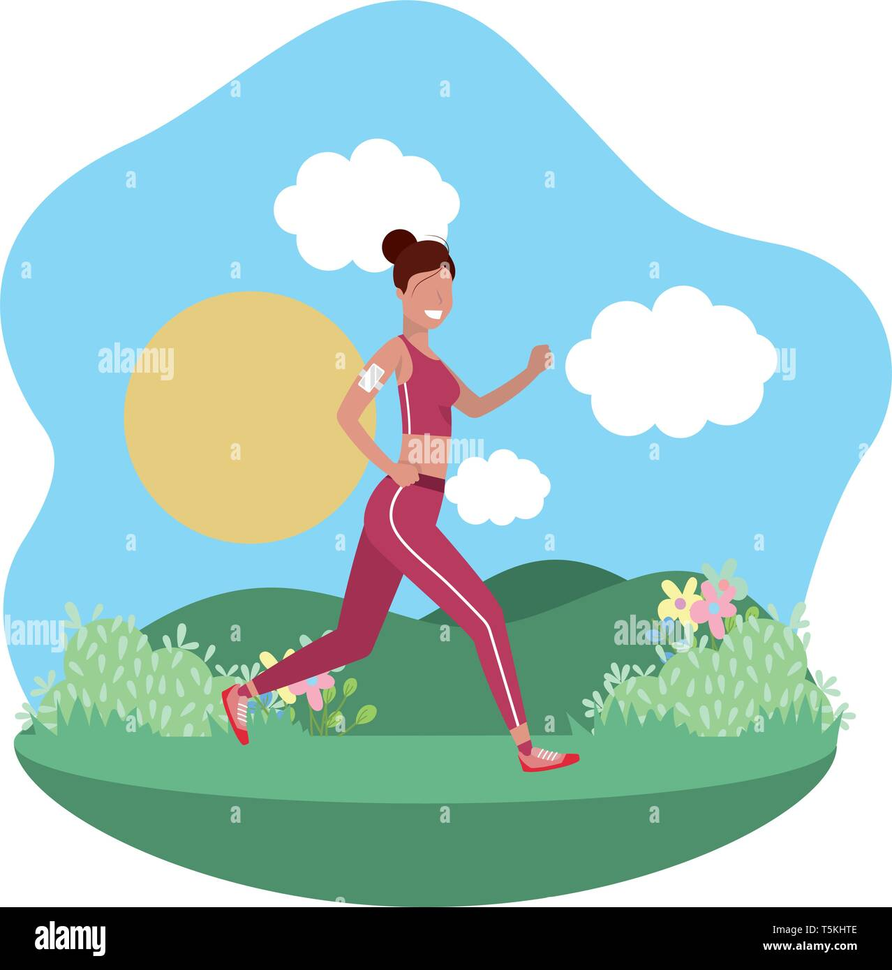 6b91aad756698 fitness exercise woman running workout healthy fit lifestyle outdoor scene  cartoon vector illustration graphic design