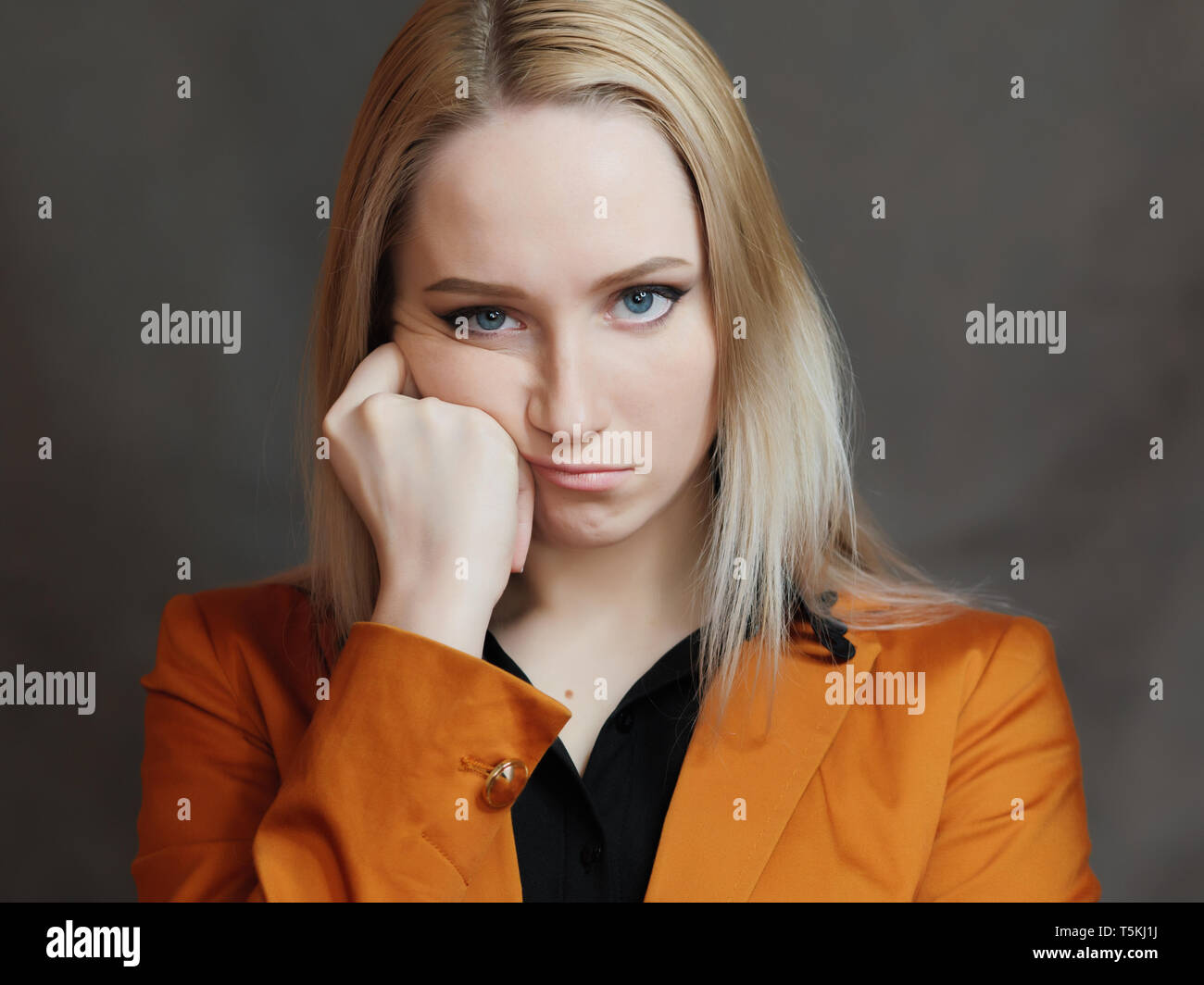 Young woman is bored. - Stock Image