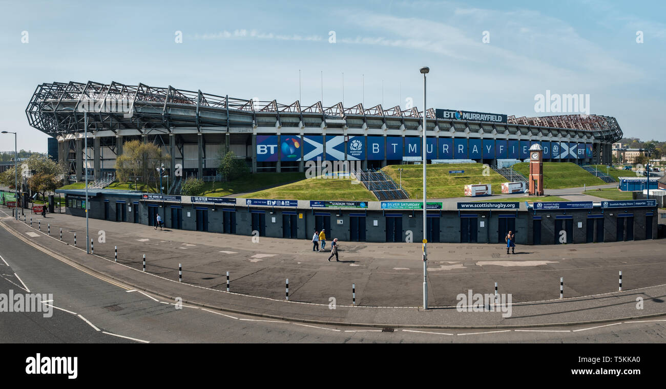 Exterior view of the entire east side of Murrayfield rugby football stadium in Edinburgh on a sunny day, East Lothian, Scotland - Stock Image