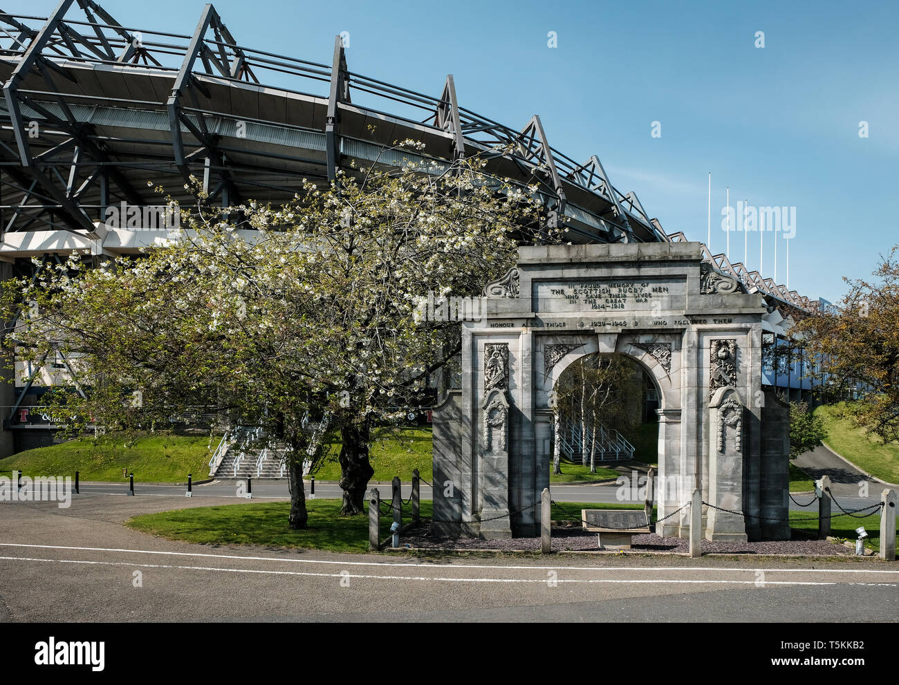 Exterior view of the ground memorial and south east side of Murrayfield rugby football stadium in Edinburgh on a sunny day, East Lothian, Scotland - Stock Image
