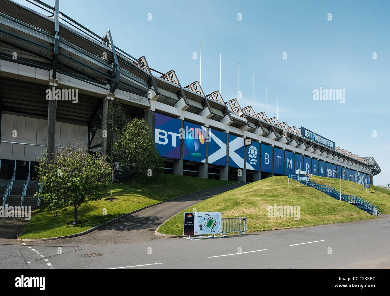 Exterior view of the east side of Murrayfield rugby football stadium in Edinburgh on a sunny day, East Lothian, Scotland - Stock Image