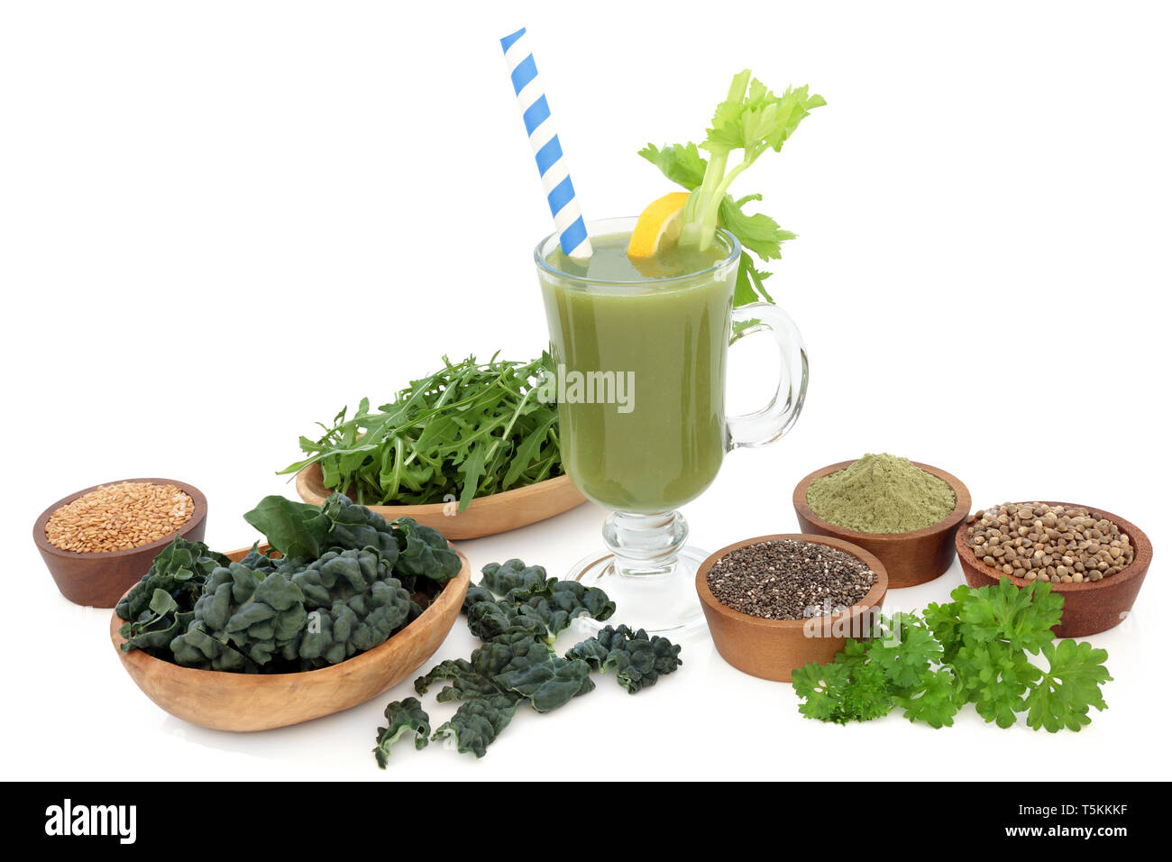 Super Food Health Drink With Vegetables Wheat Grass Powder Chia Flax And Hemp Seeds Health Foods High In Antioxidants Vitamins Dietary Fibre Stock Photo Alamy