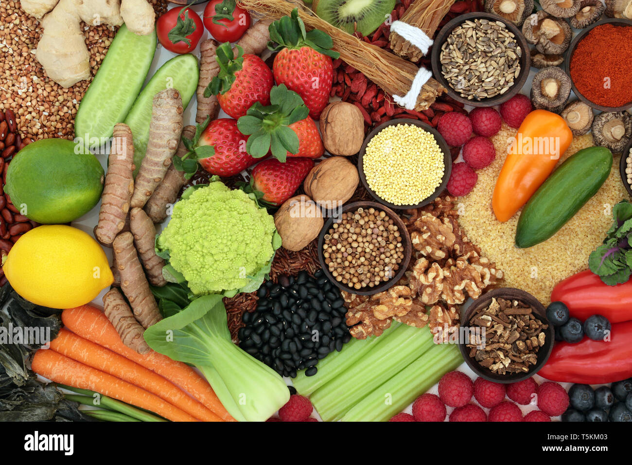 Liver detox diet health food concept with fresh fruit, vegetables, herbs, spices, legumes, herbal medicine, nuts, grains &  seeds. - Stock Image