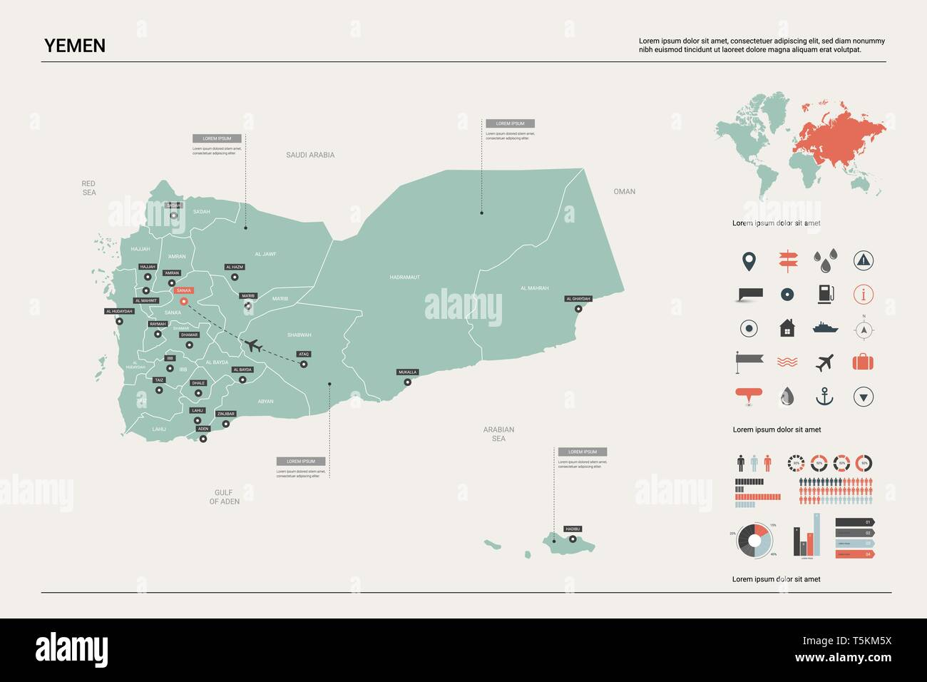 Vector map of Yemen. High detailed country map with division, cities and capital Sanaa. Political map,  world map, infographic elements. - Stock Vector