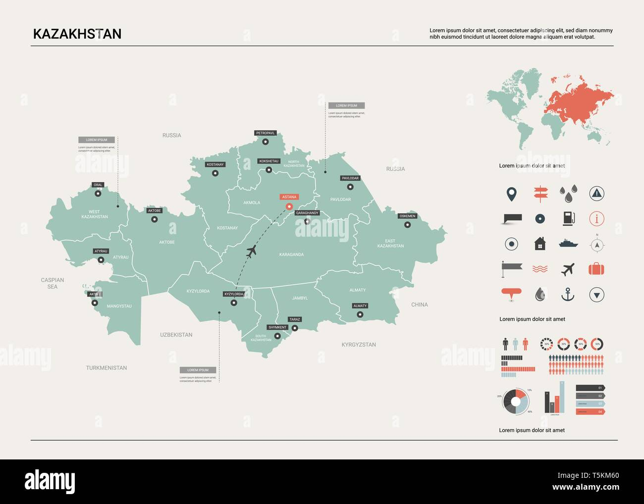 Picture of: Vector Map Of Kazakhstan High Detailed Country Map With Division Cities And Capital Astana Political Map World Map Infographic Elements Stock Vector Image Art Alamy