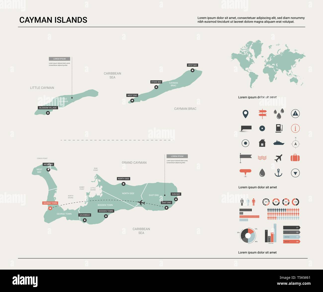 Vector map of Cayman Islands. High detailed country map with ... on