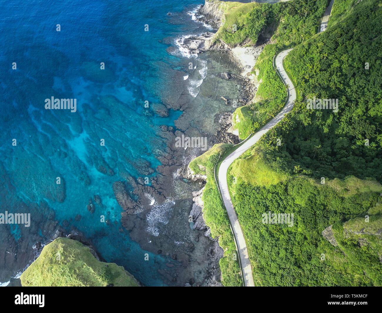Aerial shot of Batanes. - Stock Image