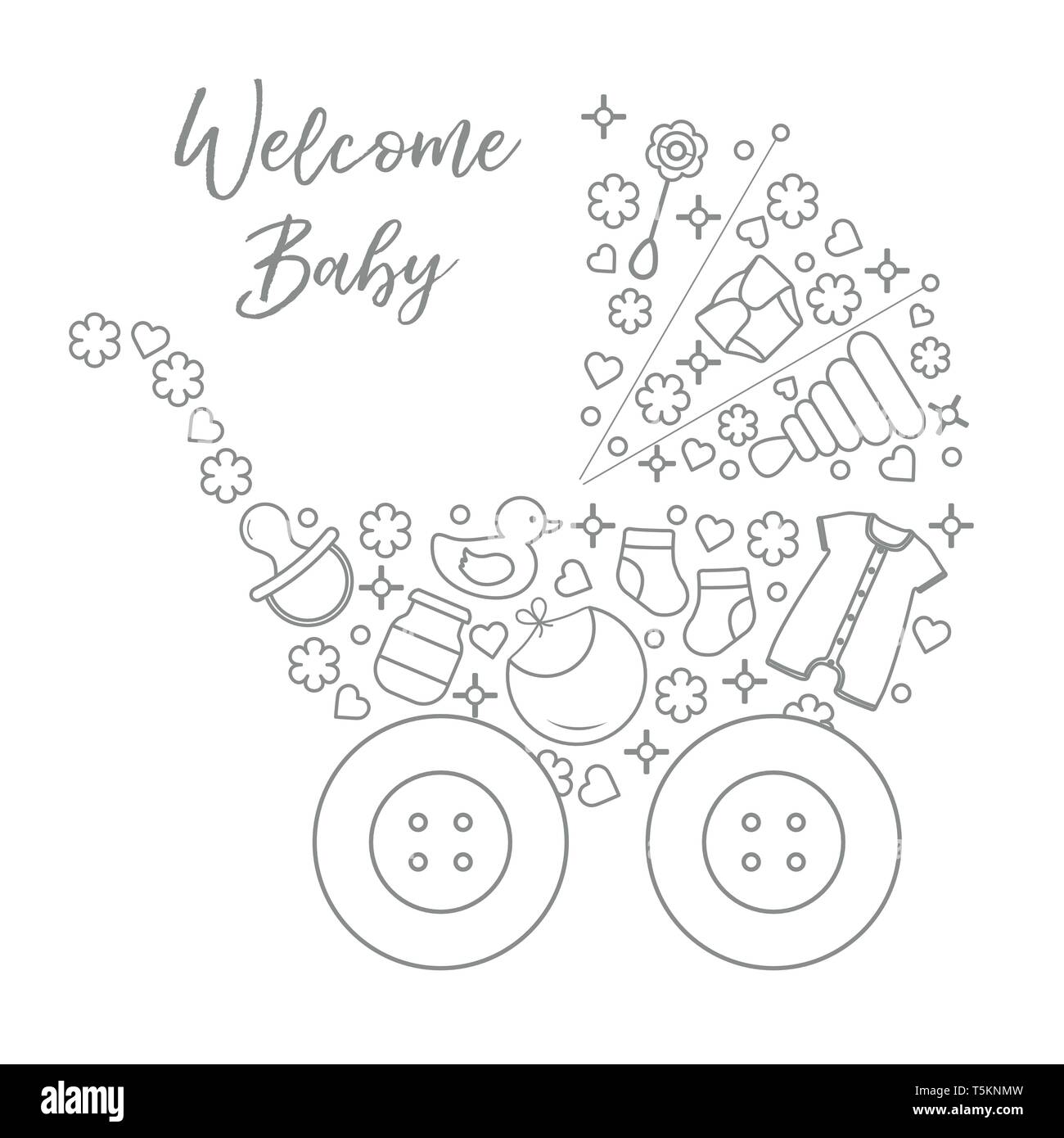 Vector illustration with baby stroller, goods for babies. Newborn baby background. Baby nipple, socks, diaper, bodysuit, duck, bib, baby food jar, pyr - Stock Image