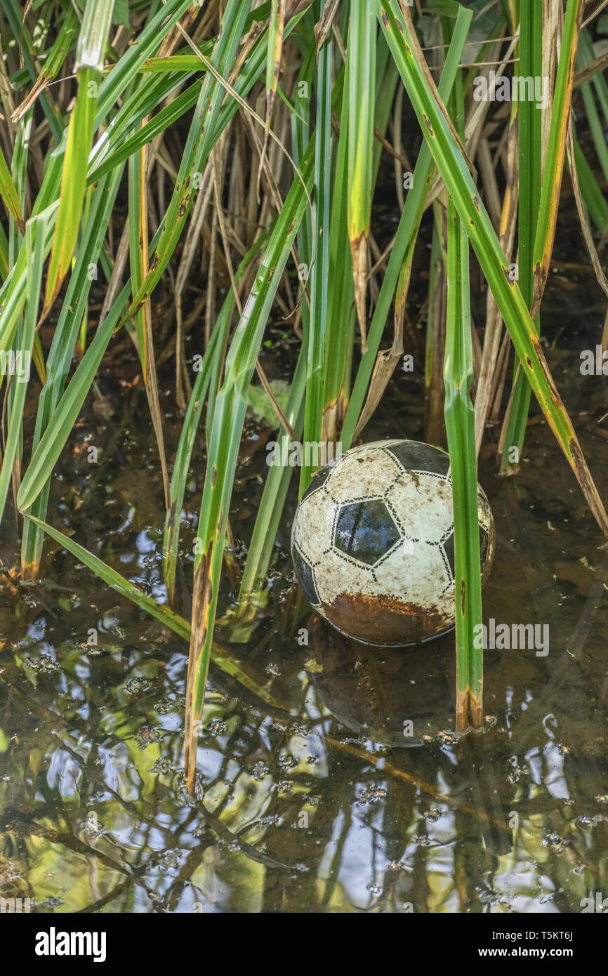 Slightly deflated plastic football lost in a drainage ditch. - Stock Image