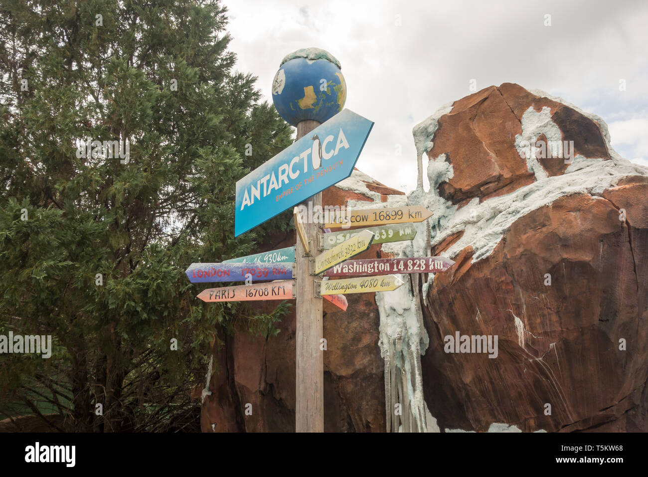 A sign board to welcome visitors to the Antarctica: Empire of the Penguin at Seaworld in Orlando, Florida. - Stock Image