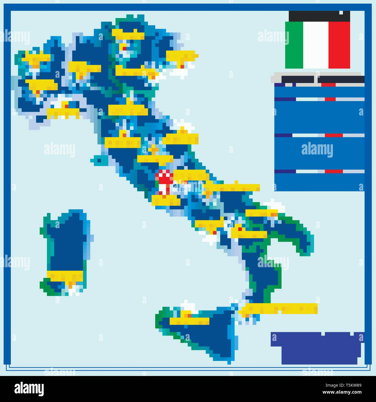 Regions Of Italy Map With Cities.Map Of Italy With Infographic Illustration With Italian
