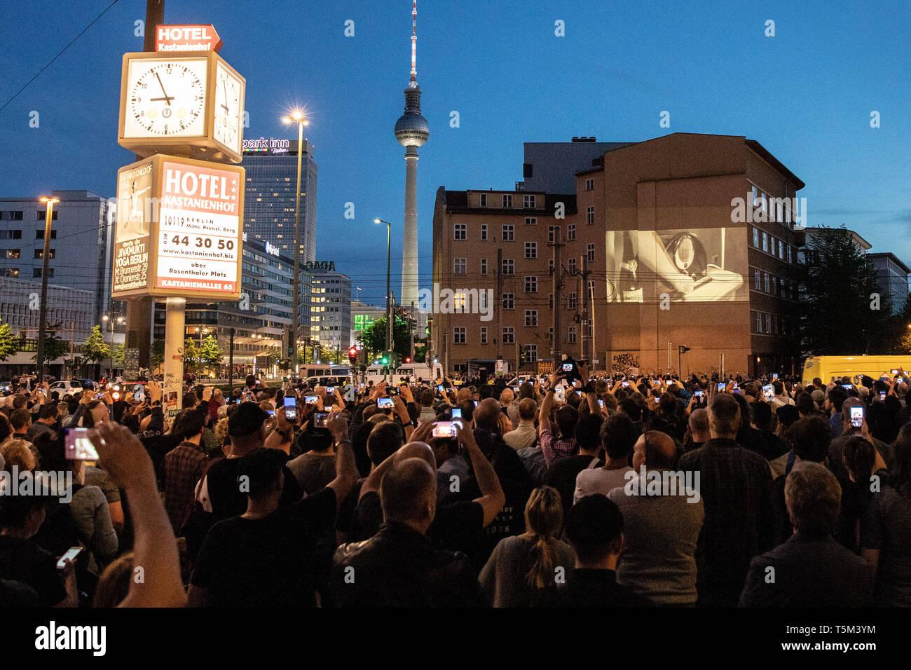 Berlin, Berlin, Germany  25th Apr, 2019  A projection of a