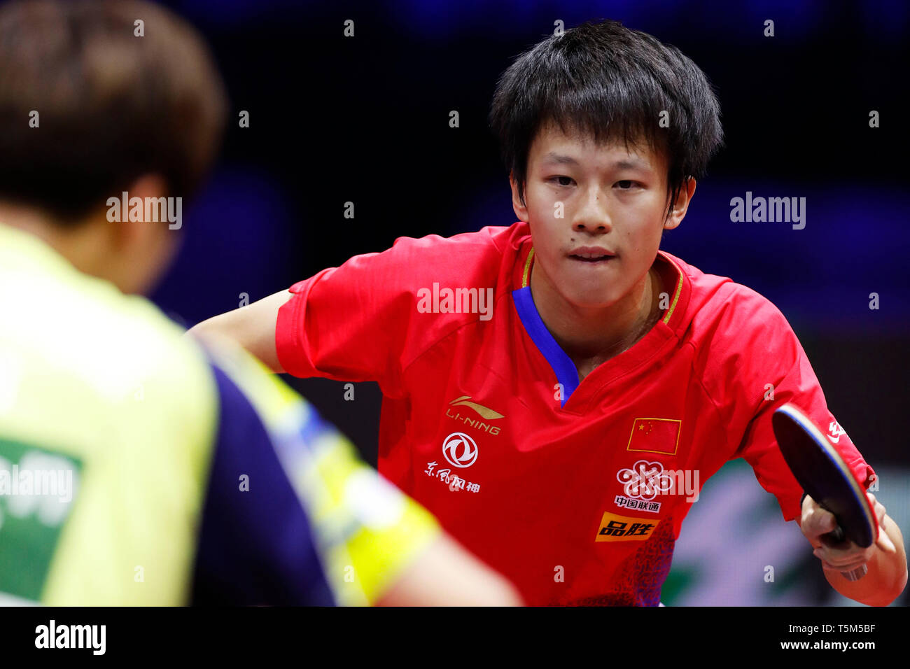 HUNGEXPO Budapest Fair Center, Budapest, Hungary. 25th Apr, 2019. Lin Gaoyuan (CHN), APRIL 25, 2019 - Table Tennis : 2019 World Table Tennis Championships Men's singles 16 Round match at HUNGEXPO Budapest Fair Center, Budapest, Hungary. Credit: D.Nakashima/AFLO/Alamy Live News Stock Photo