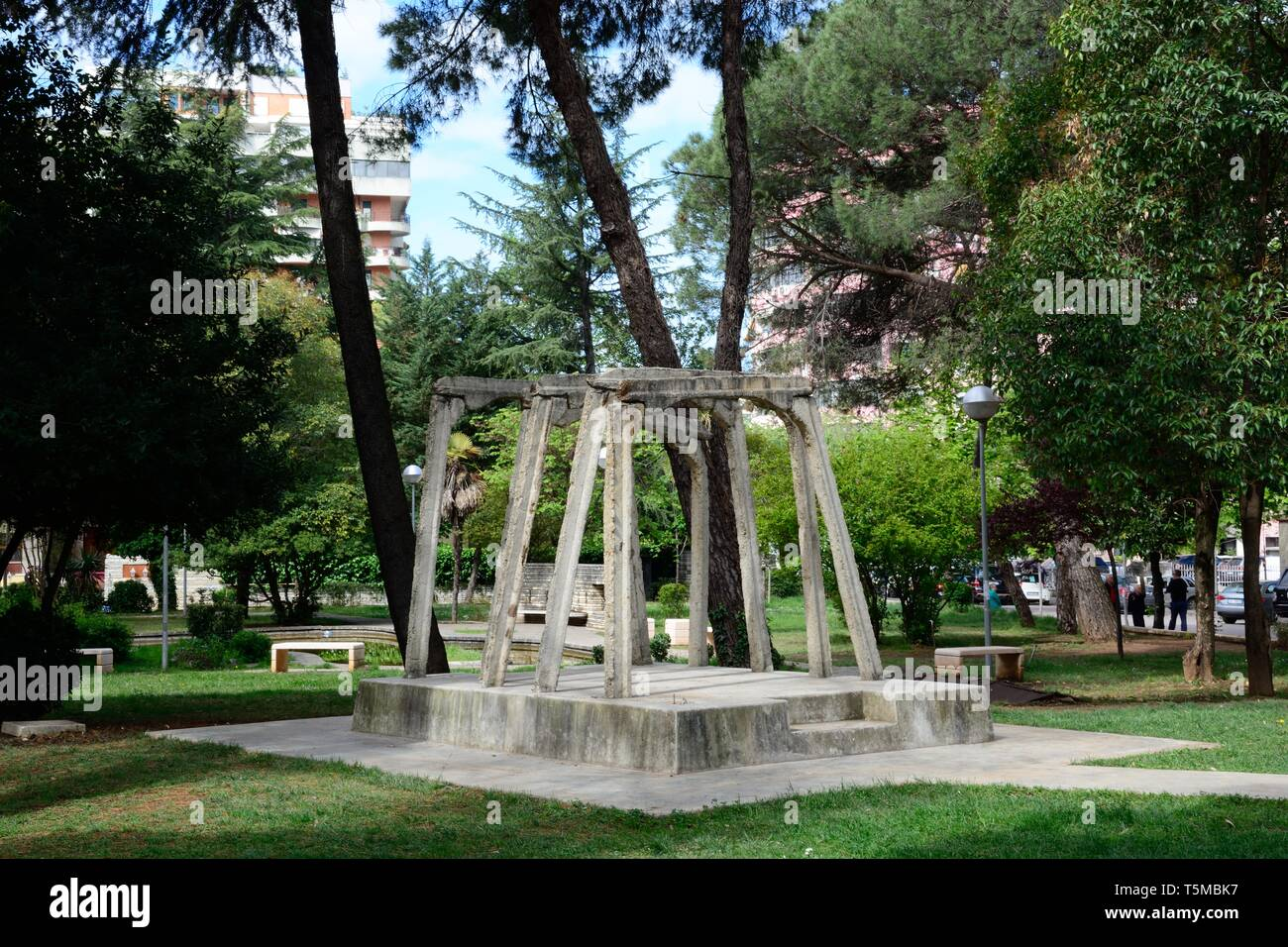 Concrete supports from the gallery of the notorious mine of Spac a forced labour camp for political prisoners from 1968 - 1990 Tirana Albania - Stock Image