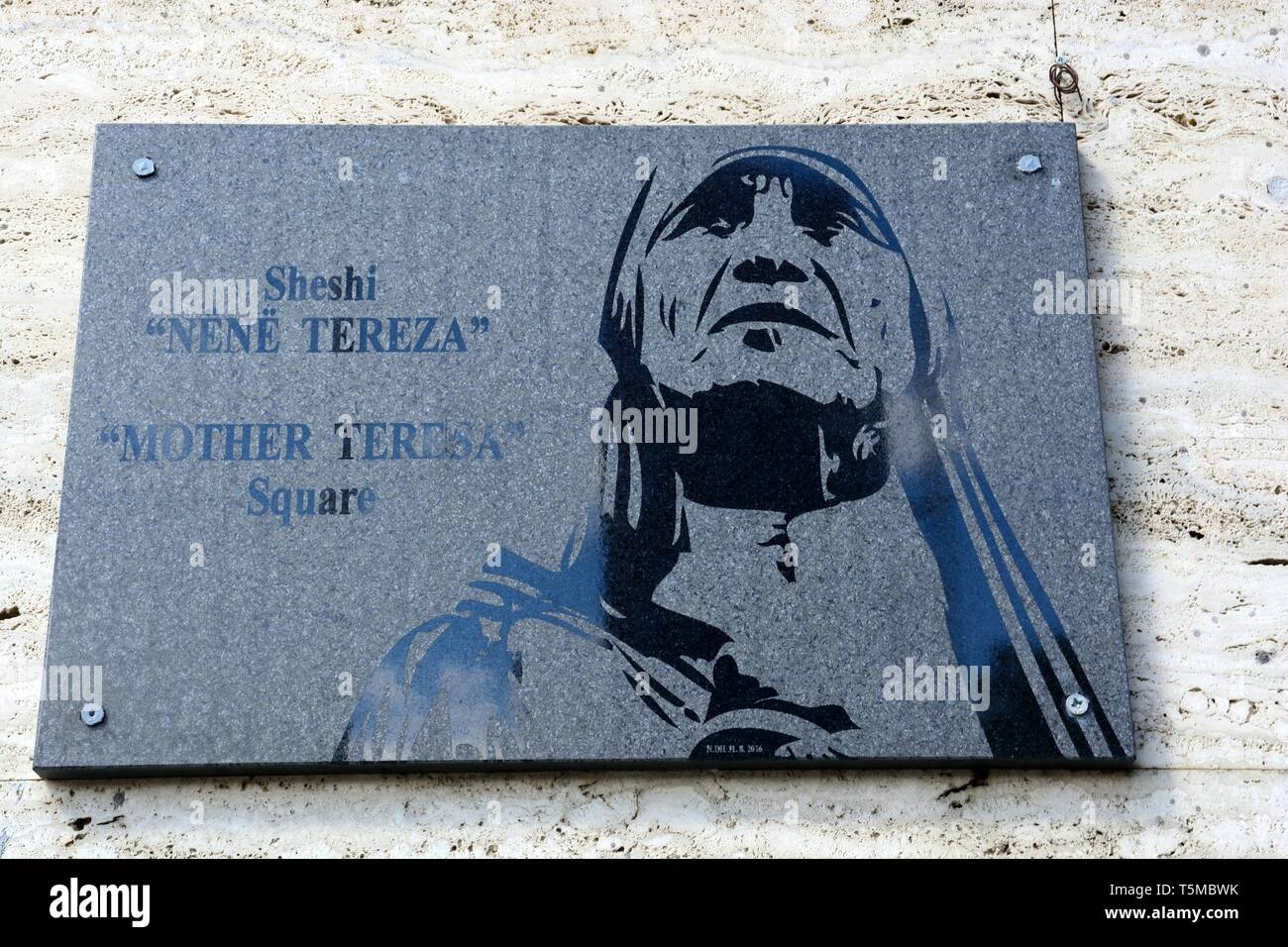 Plaque of Mother Teresa at Mother Teresa Square Tirana Albania - Stock Image