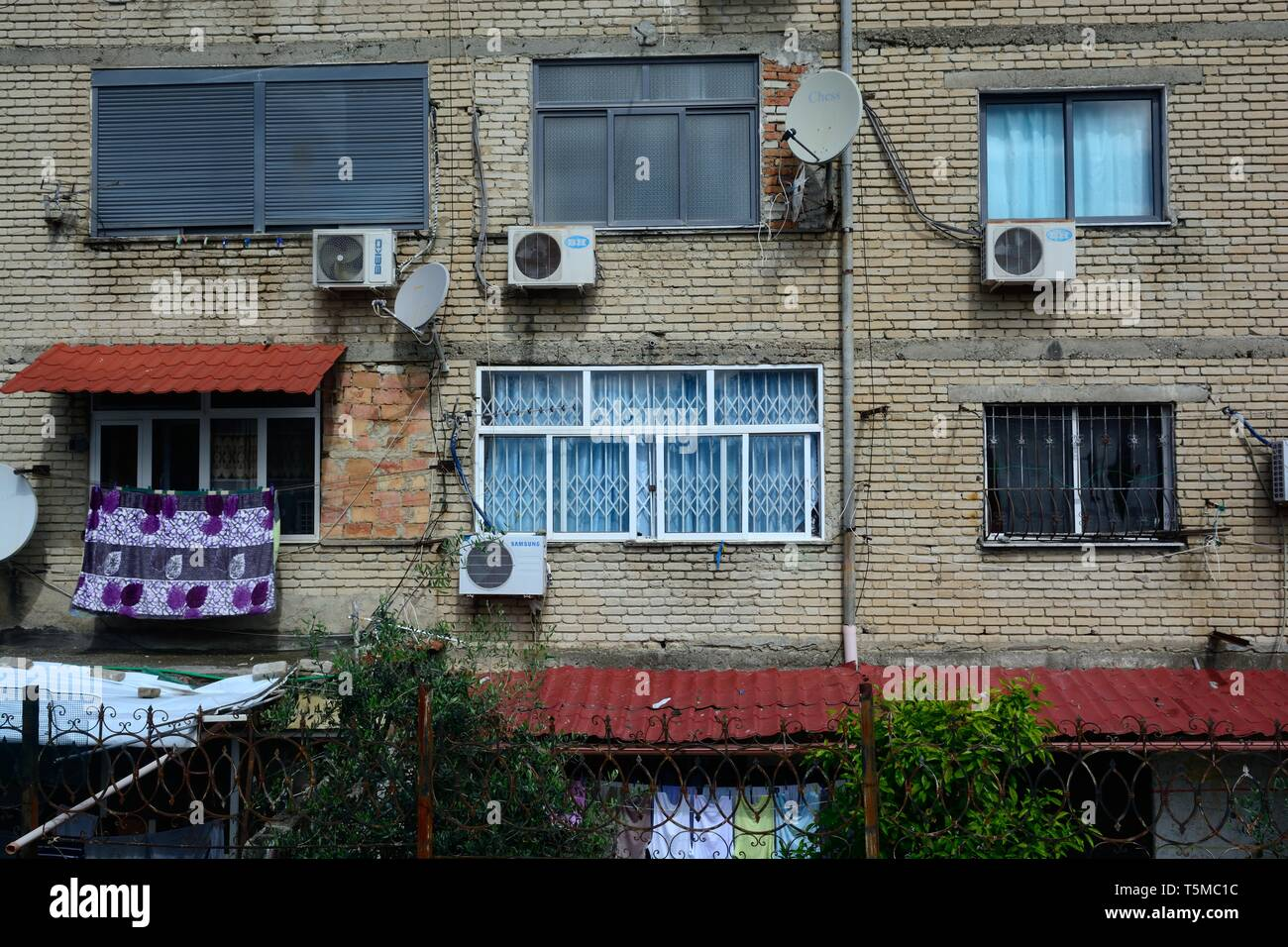 Communist blocks of flats known as grey blocks  Tirana Albania - Stock Image
