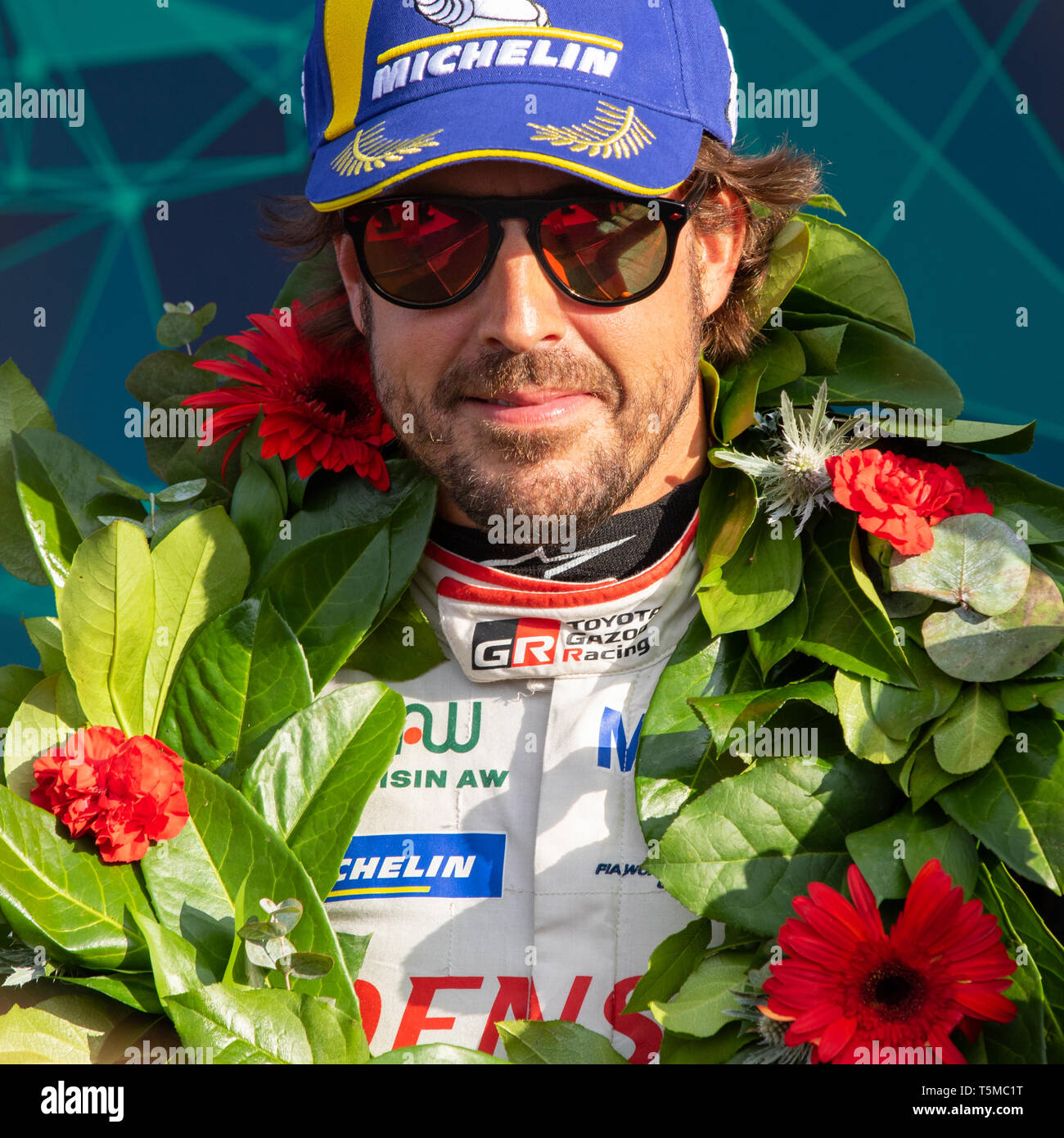 Fernando Alonso celebrates first place victory with Toyota Gazoo Racing at the 6 Hours of Silverstone, World Endurance Championship Superseason 2018 - Stock Image