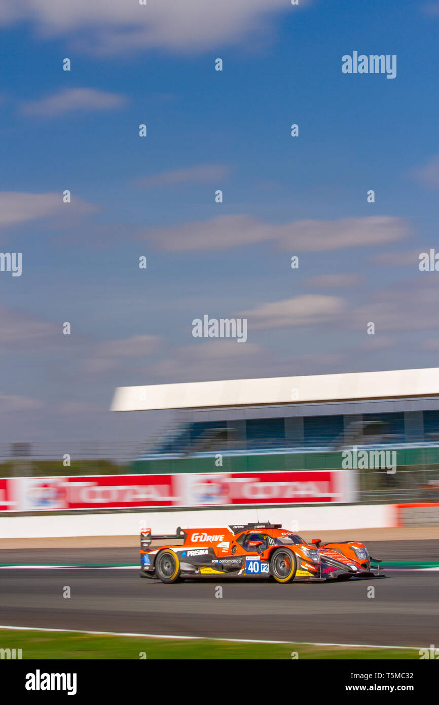 G-Drive LMP2 race car on track at the ELMS 4 Hours of Silverstone, 2018 Stock Photo