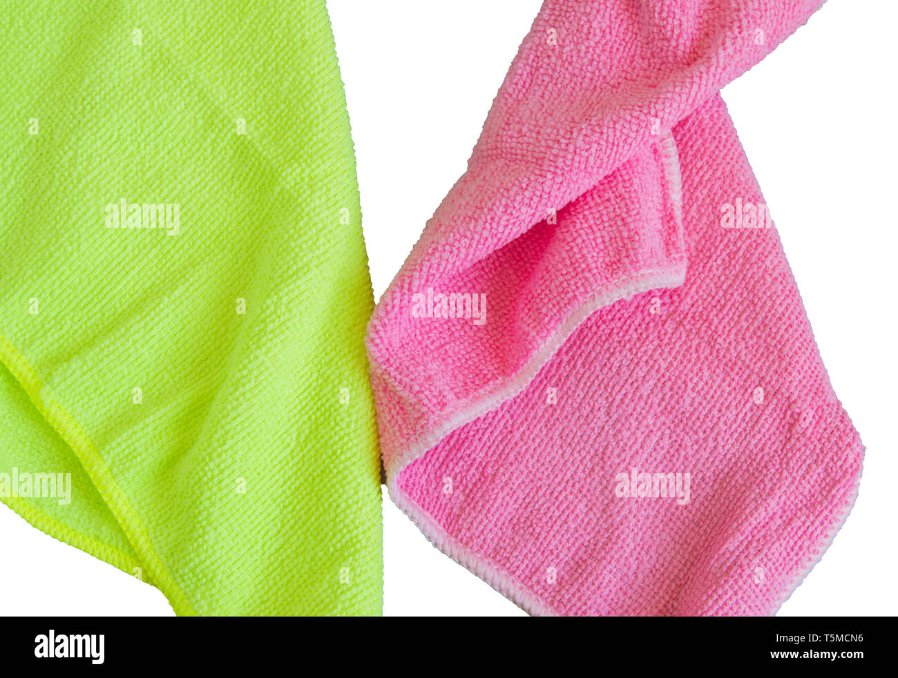 Microfiber cloths isolated on white background, tools for cleaning and cleanliness. The concept of spring cleaning, flat lay. - Stock Image