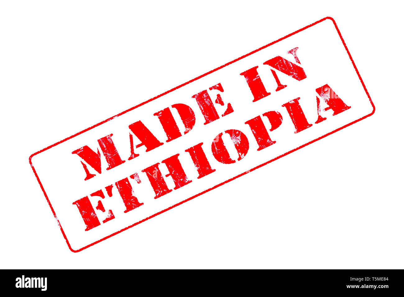 Rubber stamp with red ink on white background concept reading Made In Ethiopia - Stock Image