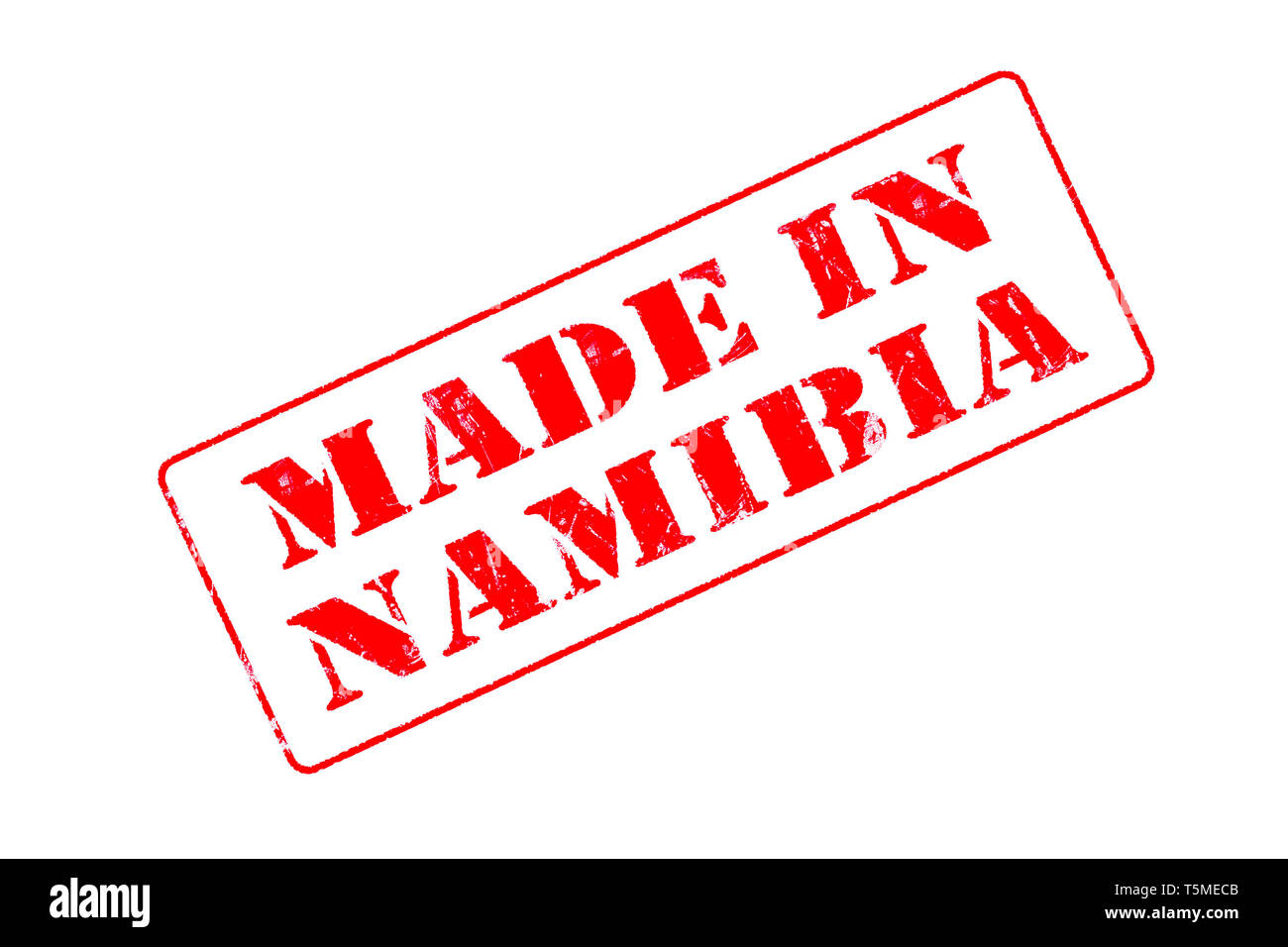 Rubber stamp with red ink on white background concept reading Made In Namibia - Stock Image