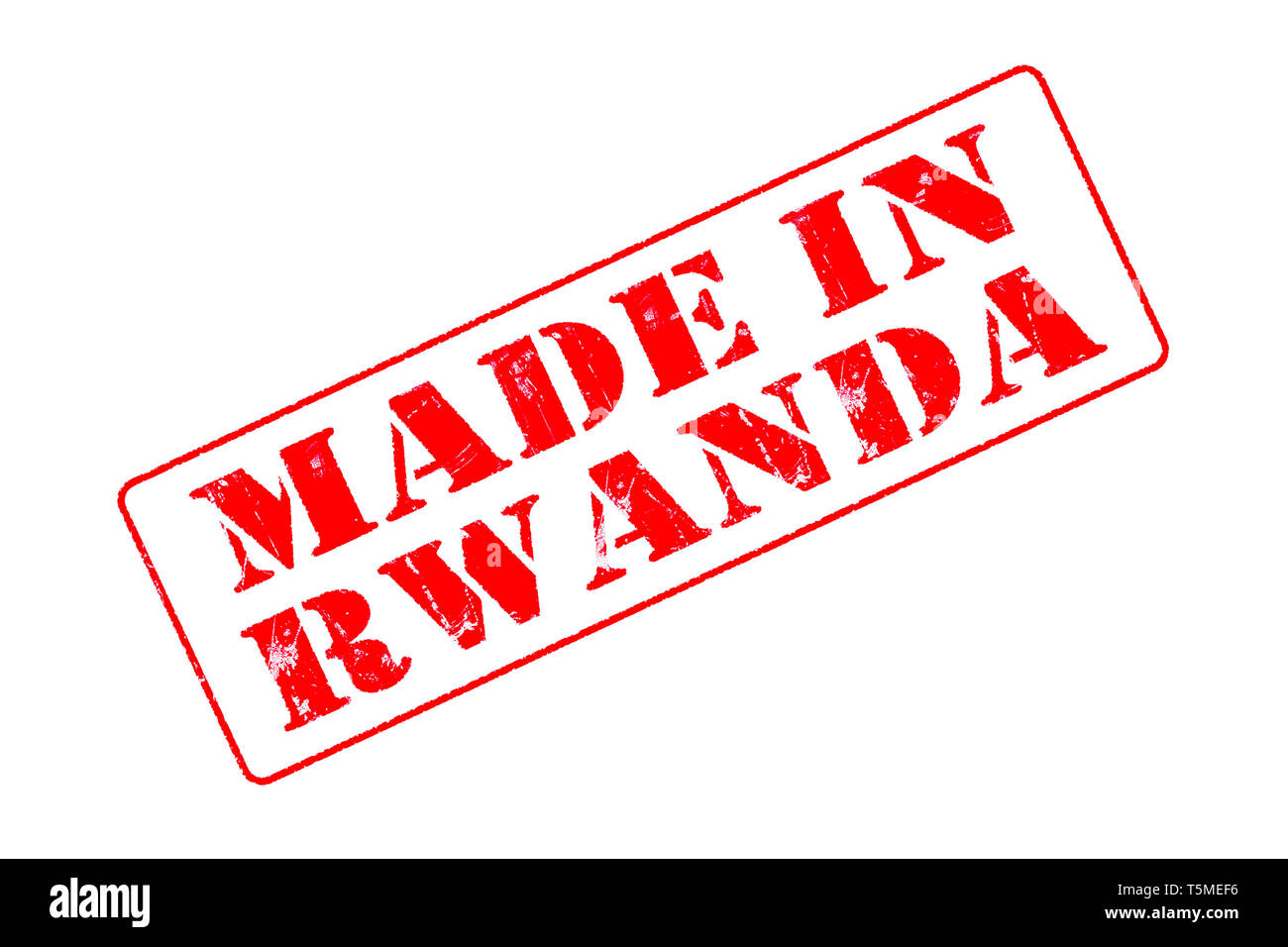 Rubber stamp with red ink on white background concept reading Made In Rwanda - Stock Image