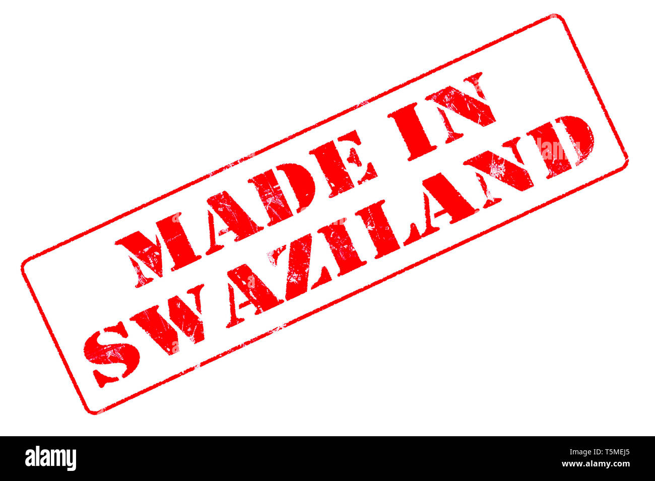 Rubber stamp with red ink on white background concept reading Made In Swaziland Stock Photo