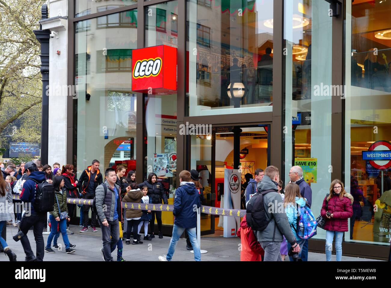 Exterior of the Lego store in Leicester Square Central London England UK - Stock Image