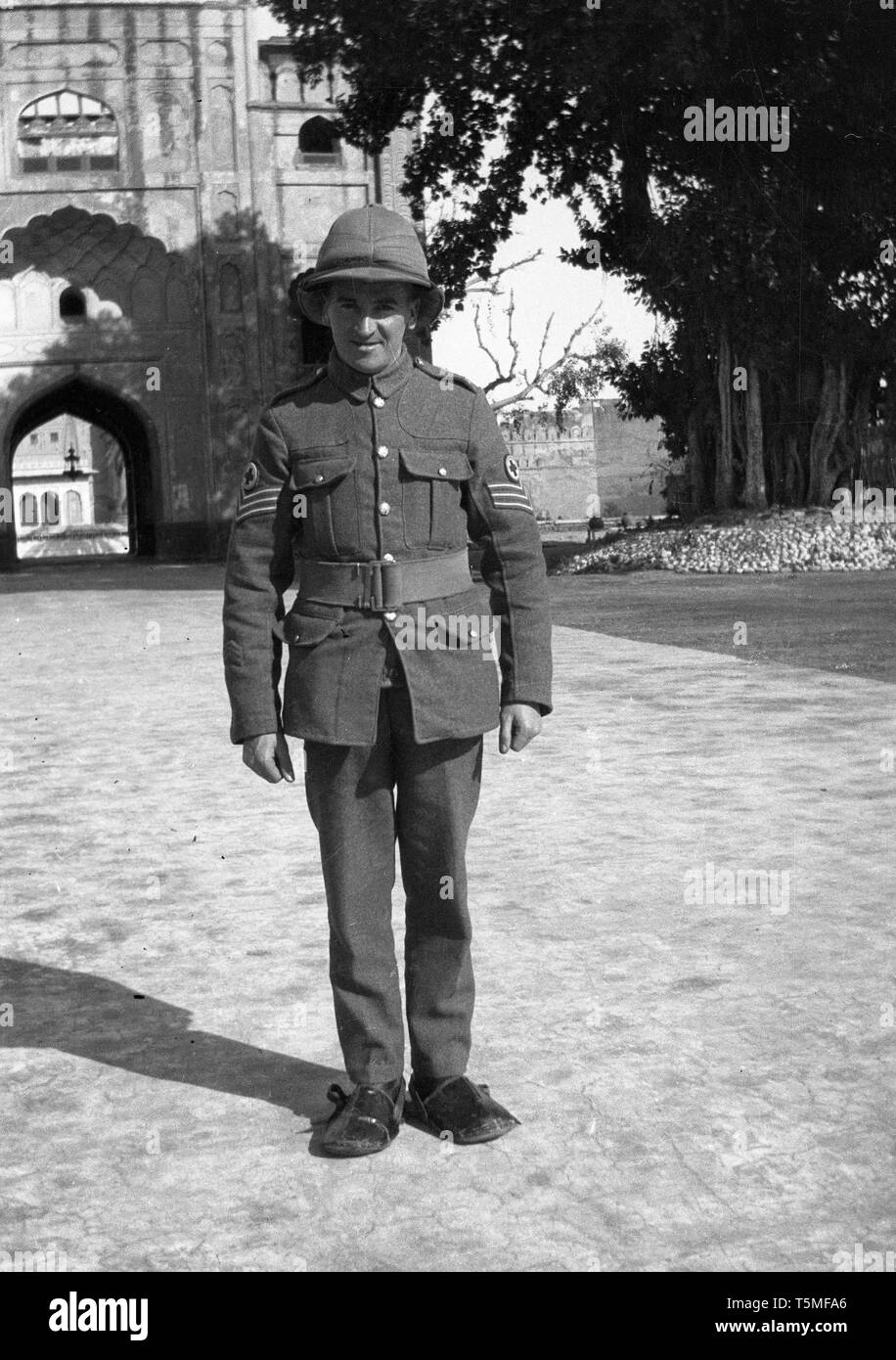 British medical corps soldier wearing pith helmet or Bombay Bowler in British India in Colonial days - Stock Image