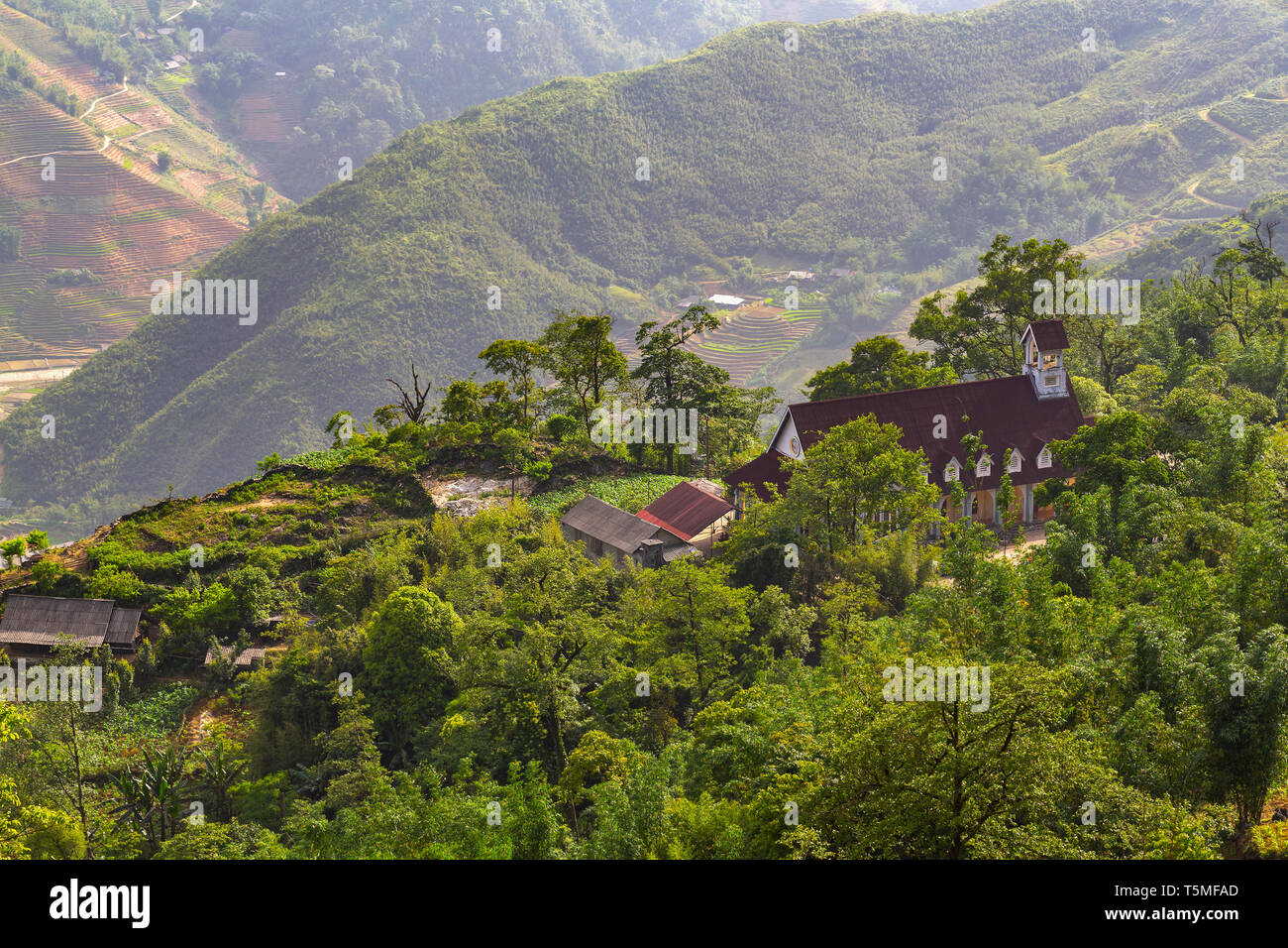 School house sitting on top of mountain in rural SaPa, Vietnam, Asia - Stock Image