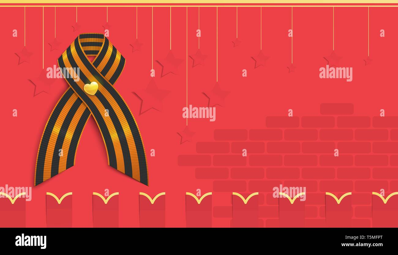 Greeting card with copy space for the 9th May of victory day in the second world war. There are St. George ribbon on the stylized Kremlin wall. - Stock Vector