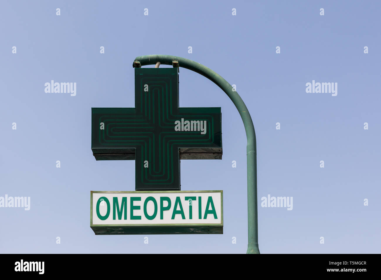 Omeopatia (homeopathy) sign - Stock Image