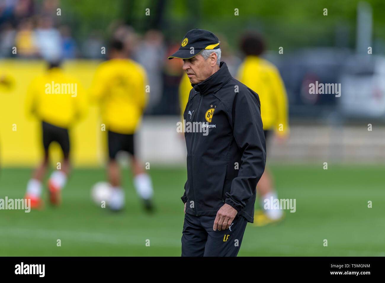 Fußball: 1. Bundesliga, Saison 2018/2019, Training von Borussia Dortmund am 25.04.2019 in Dortmund.  Dortmunds Trainer Lucien Favre Stock Photo