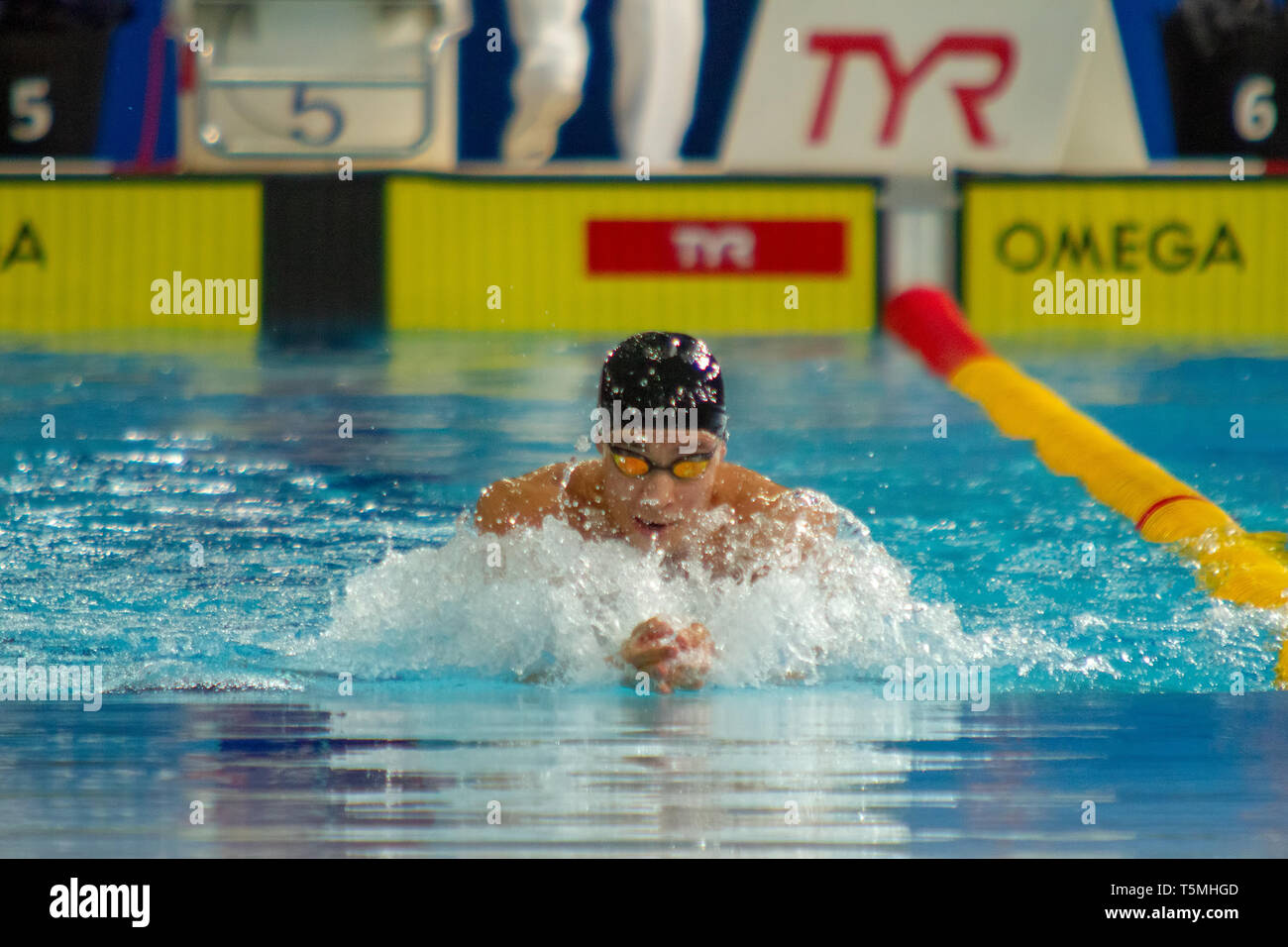 Edward Baxter (Loughborough National Centre) in action during the men's transition 100 metres breaststroke final, during Day 1 of the 2019 British Swi - Stock Image