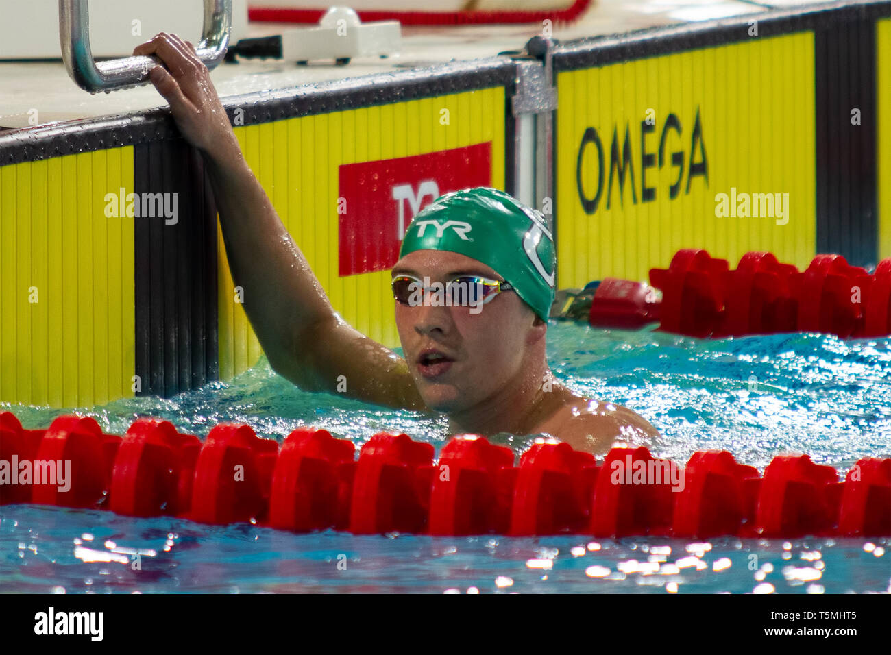Daniel Jervis (Swansea University) reacts after winning the men's open 1,500 metres freestyle last heat, during Day 3 of the 2019 British Swimming Cha - Stock Image
