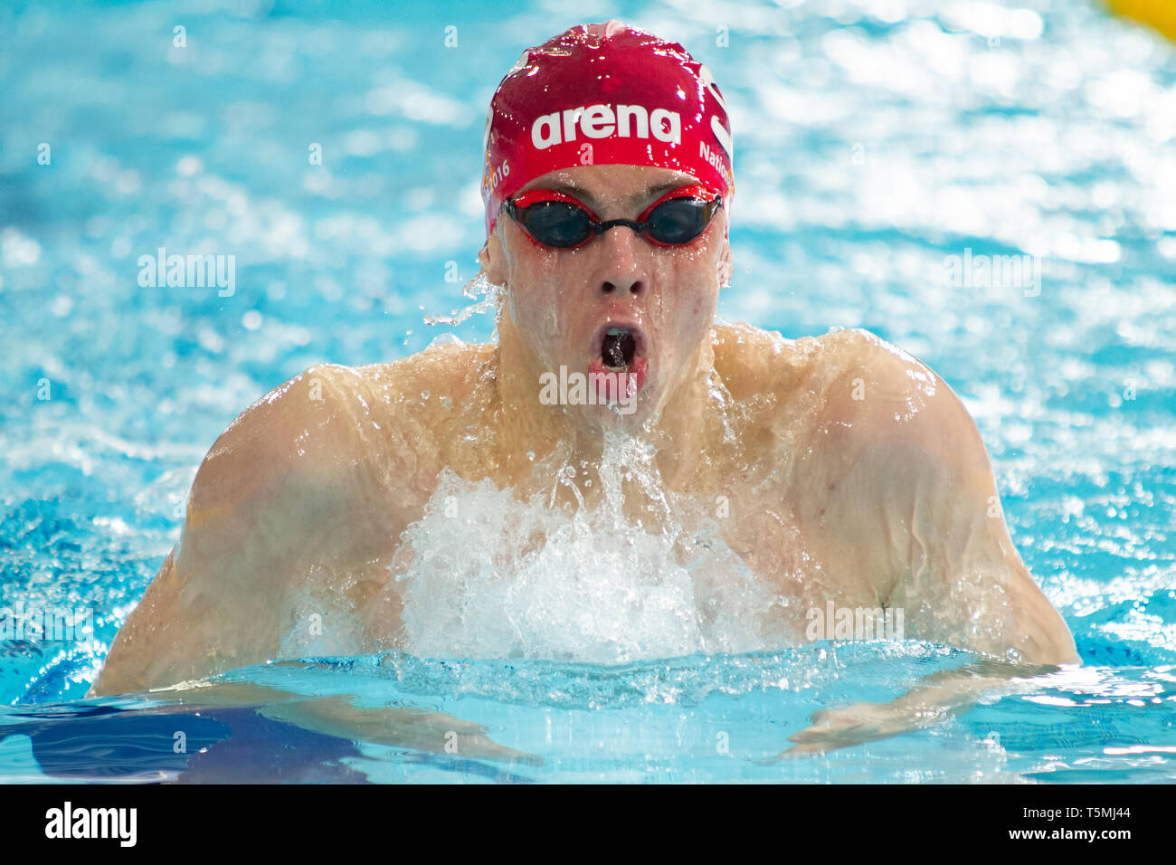 Zak Logue (City of Sunderland) in action during the men's transition 400 metres individual medley final, during Day 3 of the 2019 British Swimming Cha - Stock Image