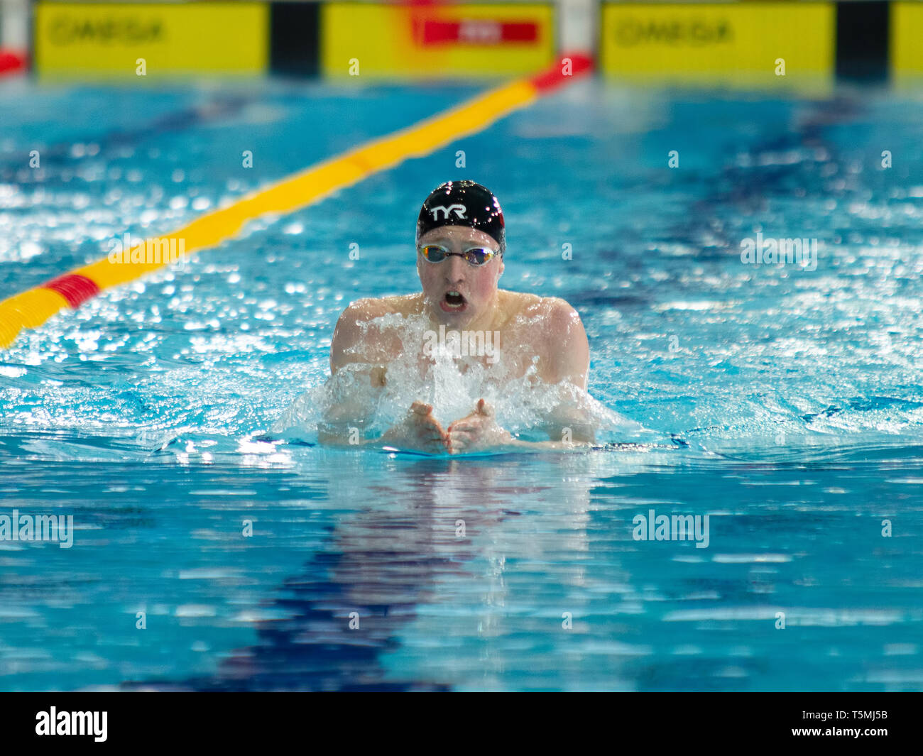 Max Litchfield (Loughborough National Centre) in action during the men's open 400 metres individual medley final, during Day 3 of the 2019 British Swi - Stock Image