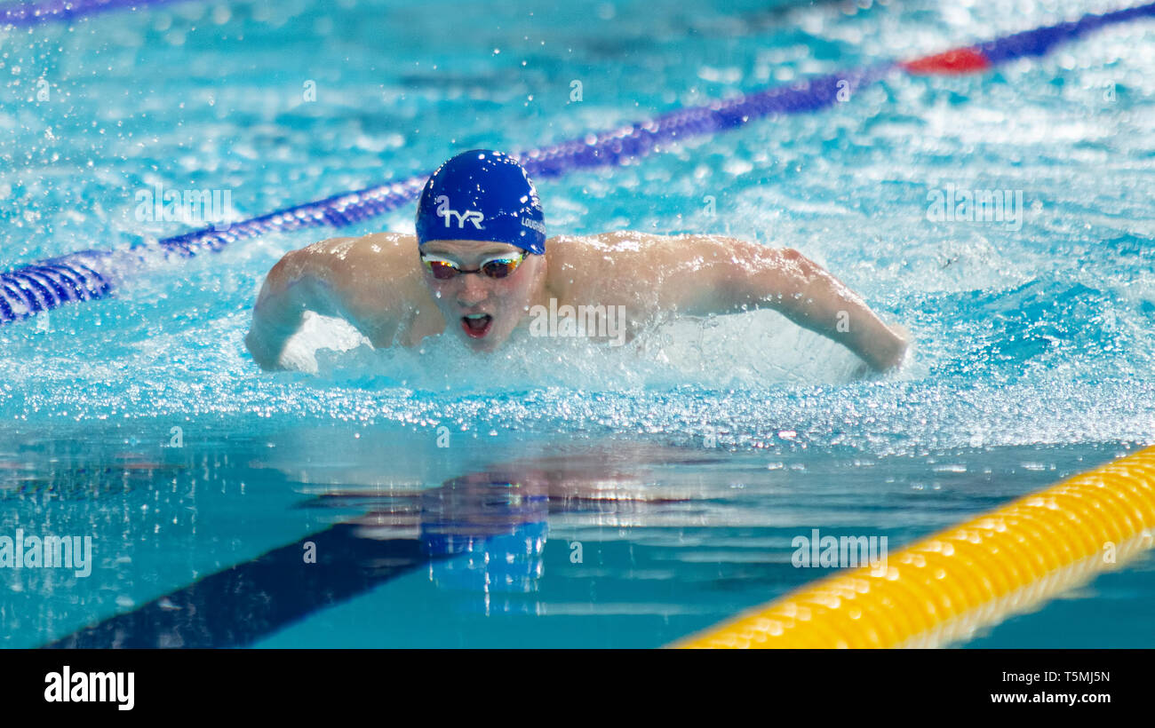 Joe Litchfield (Loughborough National Centre) in action during the men's open 400 metres individual medley final, during Day 3 of the 2019 British Swi - Stock Image