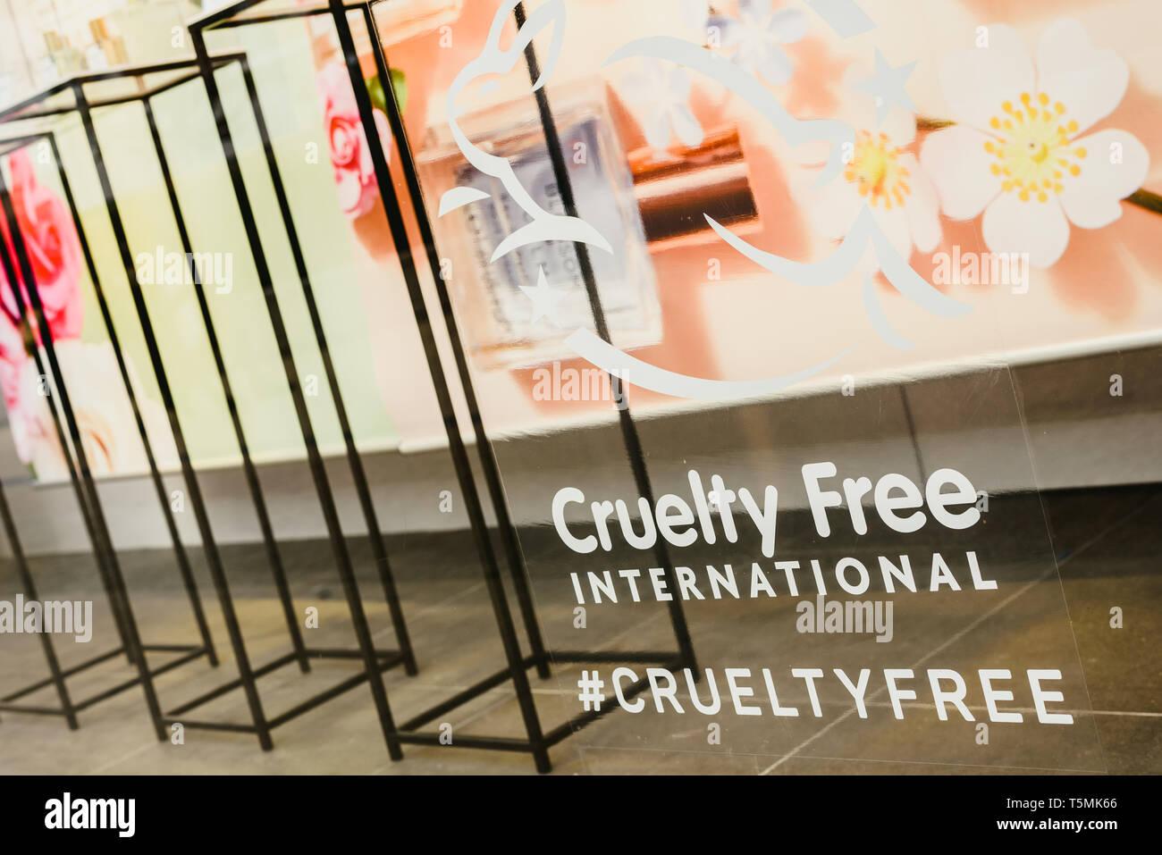Valencia, Spain - February 2, 2019: Cruelty Free logo on the escaparete of a fashion clothing store. Stock Photo