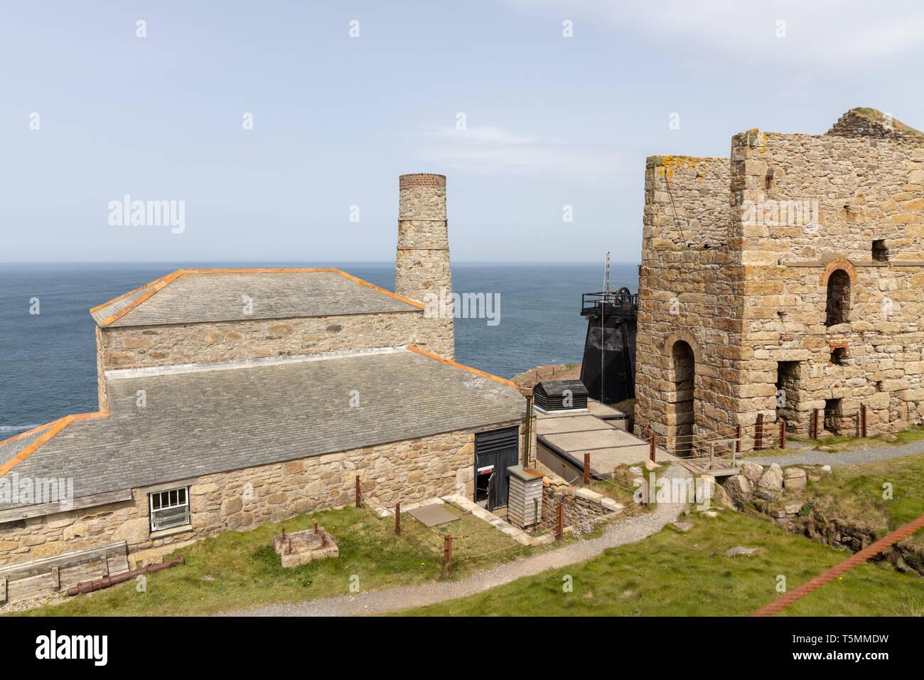 Landscape views of Cornish Tin mines - Levant Mine and Beam