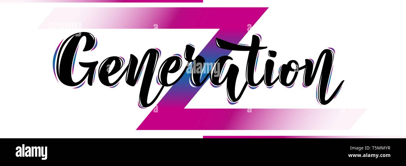Vector illustration with color phrase Generation Z - Stock Vector