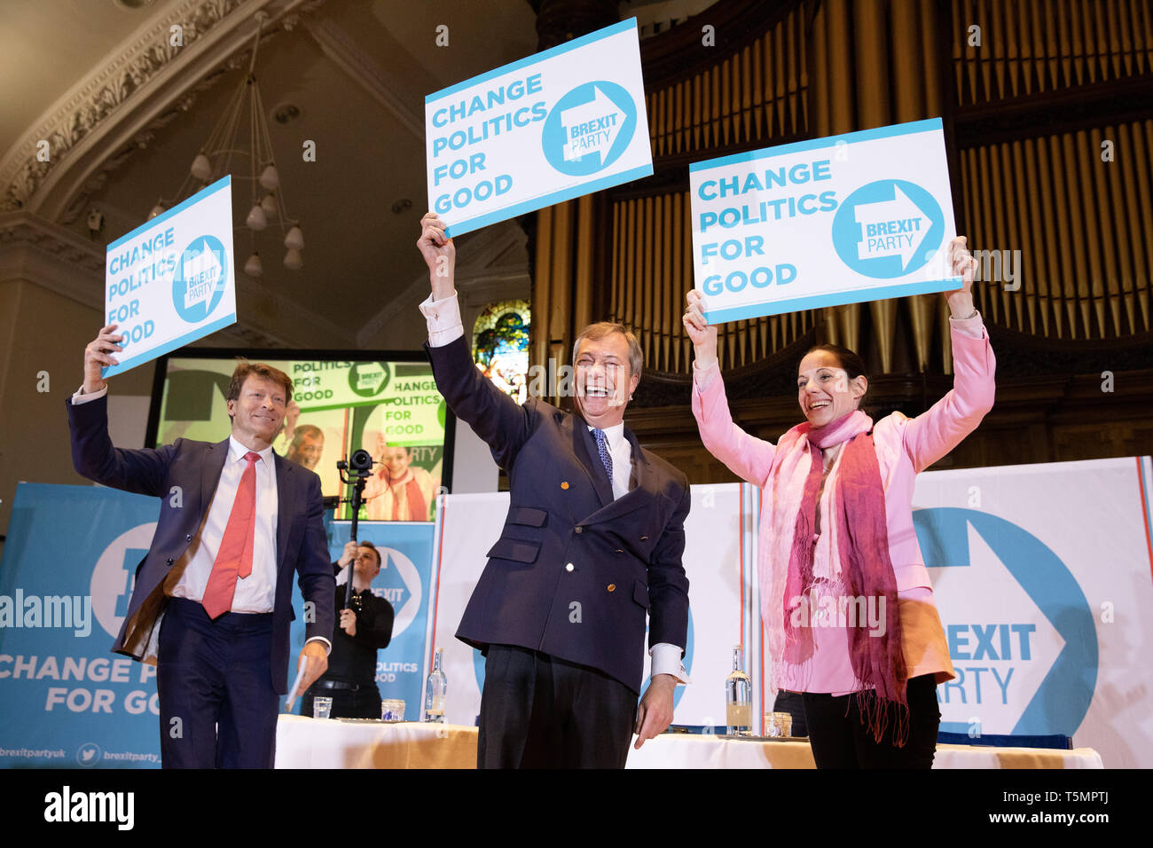 Brexit Party Rally held at Albert Hall Conference Centre, Nottingham. Nigel Farage joined by Annunziata Rees-Mogg, Richard Tice. Stock Photo