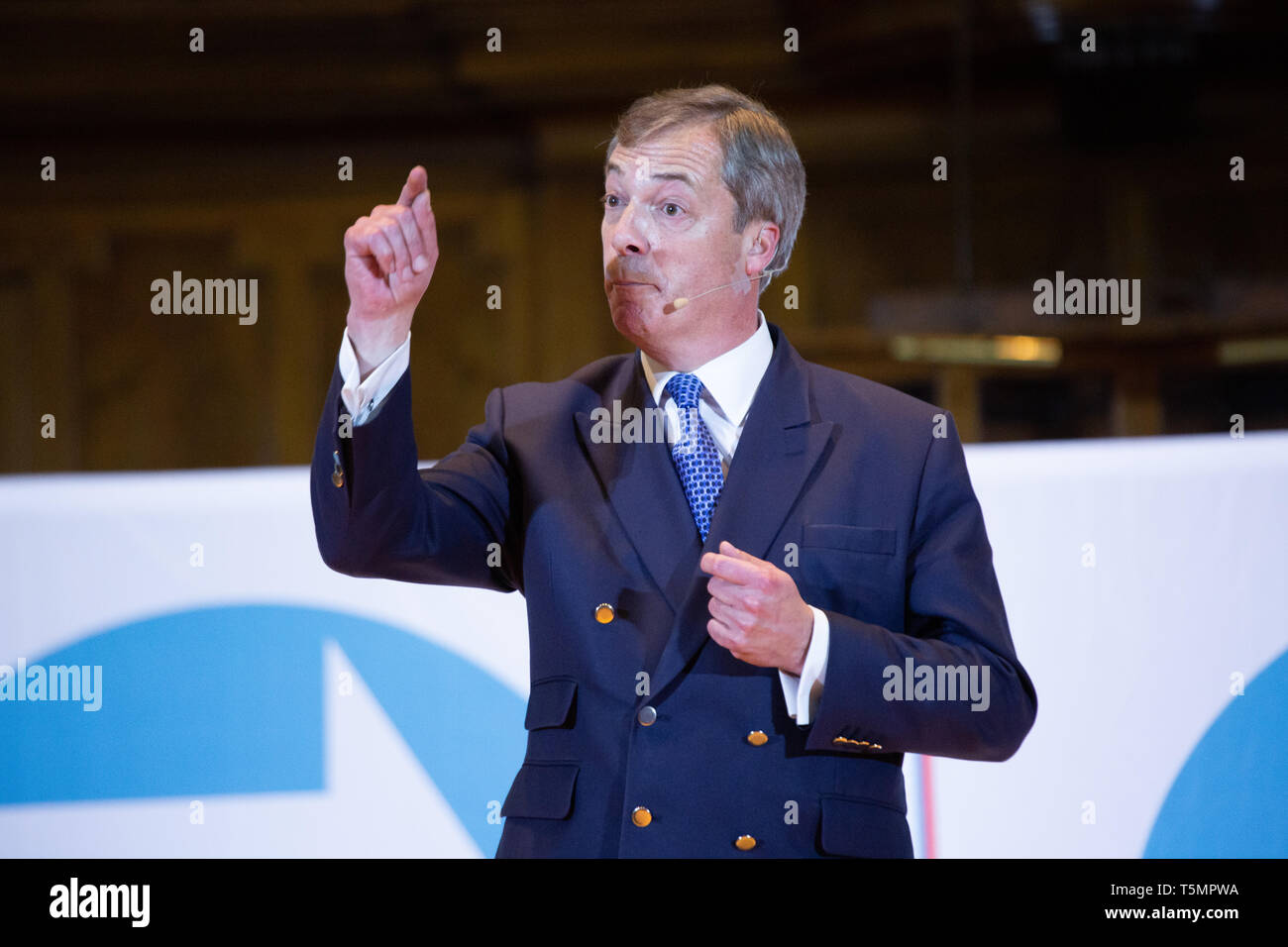 Nigel Farage speaking at the Brexit Party Rally held at Albert Hall Conference Centre, Nottingham. Stock Photo