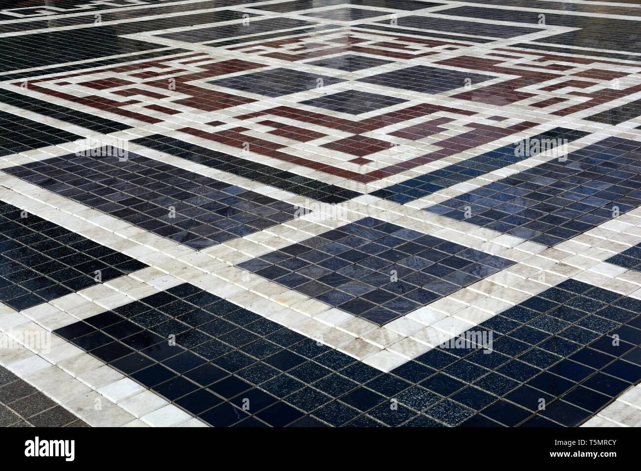 Marble mosaic floor of the Bektashi World Centre Brektashi order headquarters Tirana Albania - Stock Image