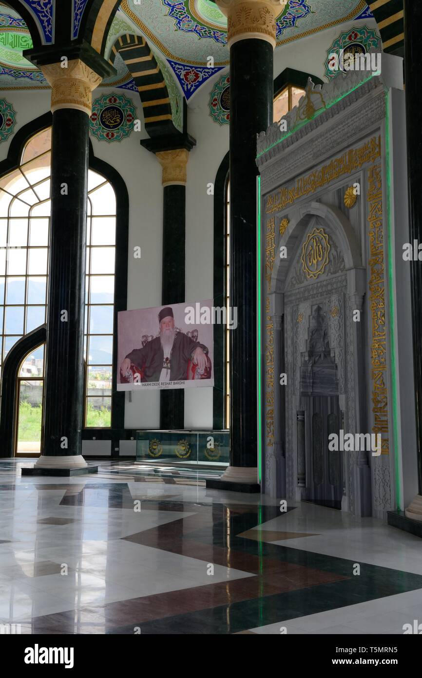 ornately decorated tekke place of worship Bektashi Mosque Bektashi World Centre Bektashi order headquarters Tirana Albania - Stock Image