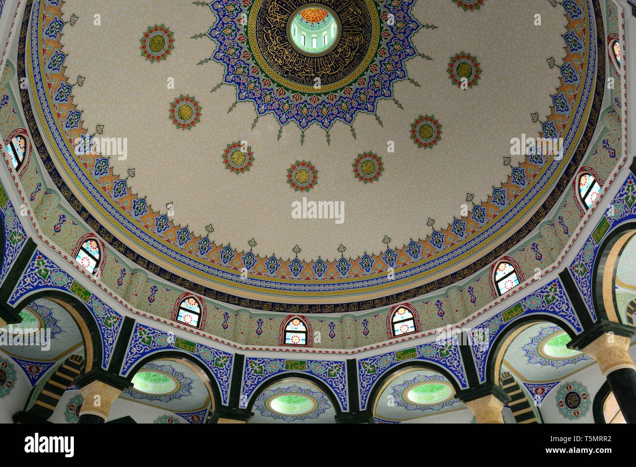Ornately decorated ceiling of Bektashi Mosque Bektashi order Headquarters  Bektashi World Centre Tirana Albania - Stock Image